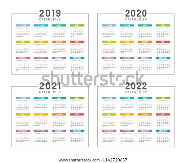 Calendrier 2020 2021.Set Minimalist Calendars Years 2019 2020 Stock Vector
