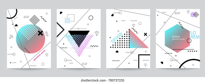 Set of minimalist covers design with geometric forms. Abstract vector objects with halftone gradients for poster design. Modern Decoration shapes and figures for web, print, patterns,branding