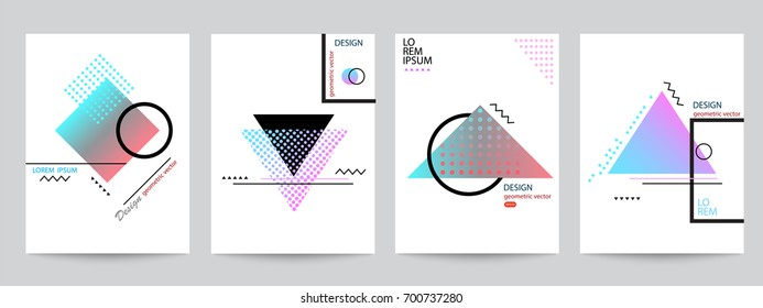 Set of minimalist covers design with geometric forms halftone gradients. Abstract geometric vector objects for poster design. Modern Decoration shapes and figures for web, print, patterns,branding