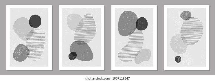 Set of minimalist design posters with abstract organic shapes composition