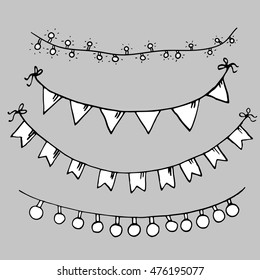 set of minimalist hand drawn black and white sketches of garlands with flags and light bulbs isolated on gray background
