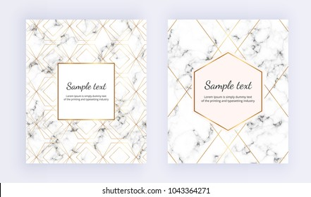 Set minimalist placard, white marble texture with gold line and frame. Place for your text. Template for design invitation, card, banner, wedding, baby shower, placard, poster, party, flyer