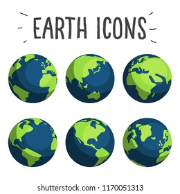 Set of minimalist shape earth icons in flat design trend. Different globe map views