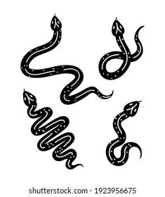 set of minimalist tattoo of snakes vector illustration design