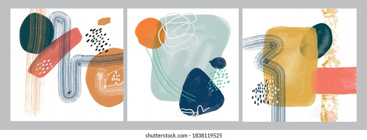 Set of Minimalist vector hand paint abstract art background with watercolor spot. Brush painting is a textural decoration with an artistic acrylic design of a poster, banner, or interior painting.