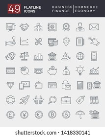 Set of Minimalistic Flatline business and finance icons for web and apps purpose