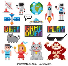 Set of minimalistic pixel art vector objects isolated. game 8 bit style minimalistic pixel graphic symbols group collection.