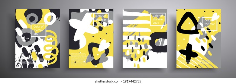 Set of minimalistic posters with abstract composition of geometric shapes in trendy color 2021. Gray and yellow. A beautiful background that is applicable for cover design, poster, brochure