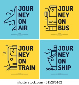 Set of minimalistic posters of journey by airplane, train, bus, boat, ship. Vector icons transport.