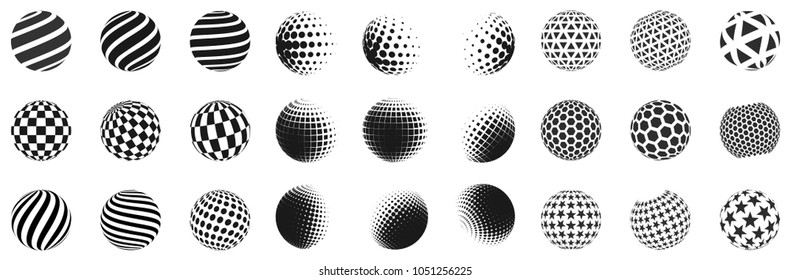 Set of minimalistic shapes. Halftone black color spheres isolated on white background. Stylish emblems. Vector spheres with dots, stripes, triangles, hexagons for web designs. Simple signs collection.
