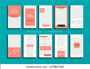 Set of minimalistic stories for Instagram. Frame. Pack for creating your unique content. Modern template in color trend 2019 Living Coral