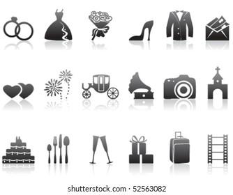 Set of minimalistic wedding icons