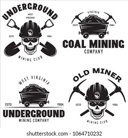 Set of mining or construction logos, badges, emblems and labels in vintage style. Monochrome Graphic Art. Vector Illustration. Isolated on white background.