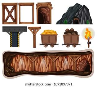 A Set of Mining Element illustration