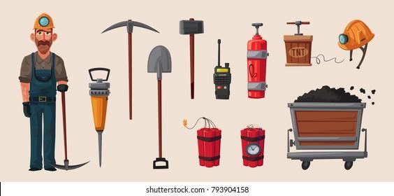 Set of mining tools. Worker's inventory. Cartoon vector illustration