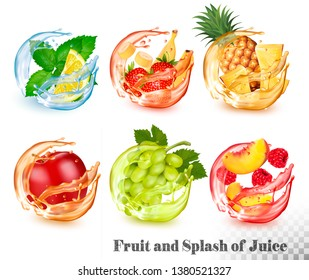 Set of mint and fruit in a water and juice splash. Melissa and lemon, strawberry and banana, pineapple, apple, grapes, peach and raspberry. Vector