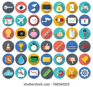 Set of miscellaneous modern flat icons with long shadow, covering business, finance, technology and web themes.