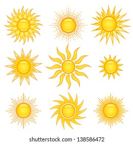 Set of miscellaneous sun icons, isolated on white.