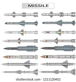 Set of missiles and ballistic rocket warhead isolated on white background, vector illustration.
