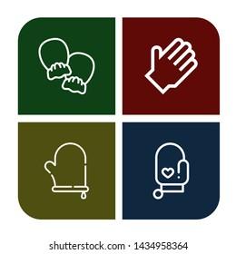 Set of mitten icons such as Mittens, Rubber gloves, Oven mitt , mitten