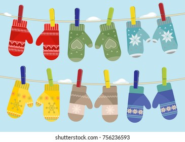 Set of mittens hanging on the rope. Vector illustration.