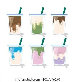 Set of mix drink. Coffee, milk , chocolate green tea