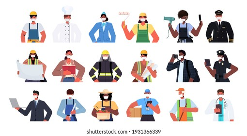 set mix race people of different occupations wearing masks to prevent coronavirus pandemic self isolation labor day celebration concept portraits collection horizontal vector illustration