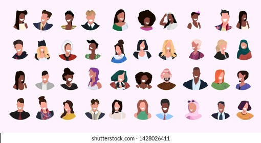 set mix race women men face avatar collection different smiling people female male cartoon characters portrait flat horizontal