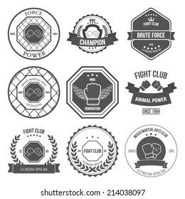 Set of Mixed Martial Arts labels, badges and design elements