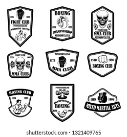 Set of mma and boxing club emblems. Design element for logo, label, sign, poster, t shirt. Vector illustration