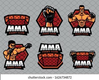 Set of MMA Logo. MMA logo and badge. MMA vector illustration