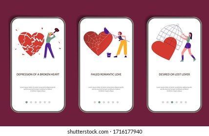 Set of mobile application template of intense emotional pain of lost lover.  Psychological Metaphor of broken love or stomp the hearts. Flat Art Vector Illustration