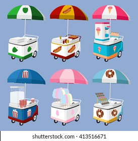 Set of Mobile Food Umbrella Carts Vector Cartoon sell coconut, hot dog, ice cream, pop corn, cotton candy, donuts, sweet childhood memory in carnival all objects isolated eps 10