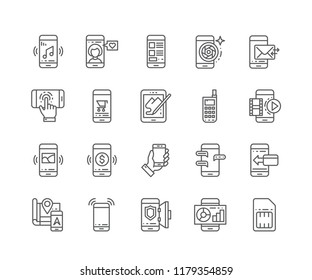 Set of Mobile outline icons isolated on white background. Editable Stroke. 64x64 Pixel Perfect.