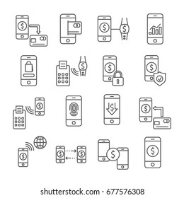Set of mobile payment Related Vector Line Icons. Includes such icons as shopping, online, e-wallet, electronic money, smartphone