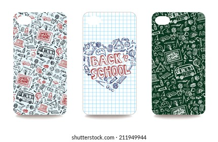 Set of  mobile phone cover with School Supplies Sketchy Notebook Doodles. The visible part of the clipping mask. The sample is ready for printing after the release clipping mask.Vector illustration