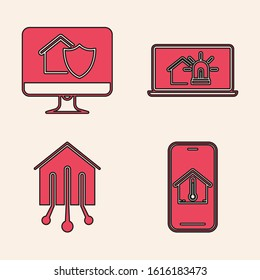 Set Mobile phone with house temperature, Computer monitor with house under protection, Laptop with smart house and alarm and Smart home icon. Vector