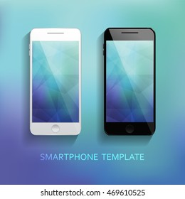 Set of Mobile Phones Blurred Backgrounds. Clean and modern style design. Elegant, realistic. Technology, communication. Vector illustration