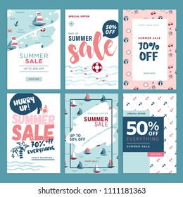 Set of mobile summer sale banners. Vector illustrations of online shopping ads, posters, newsletter designs, coupons, social media banners and marketing material.