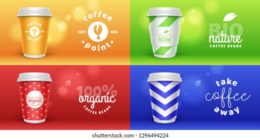 Set of mock up template for your brand realistic coffee paper cup on trend colors blur background. Your logotype design on paper cup. Presentation for your logo branding vector illustration.