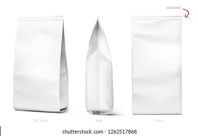 Set of mockup bags with clip band isolated on white background. Vector illustration. Can be use for your design, presentation, promo, ad. EPS10.