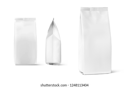 Set of mockup bags isolated on white background. Vector illustration. Can be use for your design, presentation, promo, ad. EPS10.