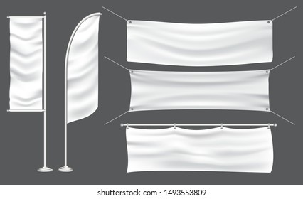 set of mockup flag or textile banner flag for decoration in an outdoor event. easy to modify