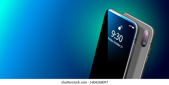 Set Mock-up of Modern Black Smart Phone on Smooth Dark Blue Surface in Perspective View. Realistic Vector Illustration of Smartphone. New Visionary Shiny Mobile Cellphone with Reflection on the Screen