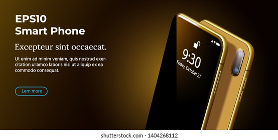 Set Mock-up of Modern Gold Smart Phone on Smooth Dark Brown Back in Perspective View. Realistic Vector Illustration of Smartphone. New Shiny Mobile Cellphone with Reflection on the Screen.