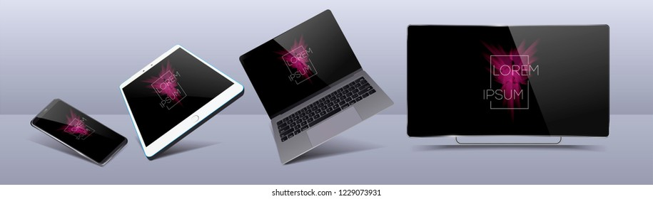 Set Mock-up of realistic devices. Smartphone, tablet, laptop, TV. 3D vector illustration Vector collection gadgets, Mockups to showcase your web-site design