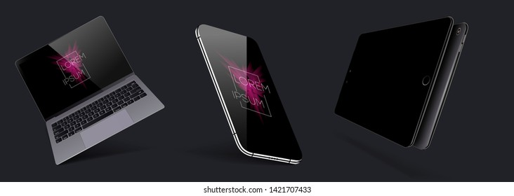 Set Mock-up of realistic devices. Smartphone, laptop, tablet and smartphone with blank screen for design. Vector collection gadgets. 3D, isometric, axonometric view of the device. Vector illustration