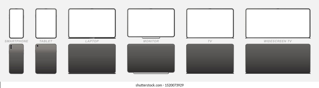 Set Mock-up of realistic devices. Smartphone, tablet, laptop, monitor and TV. Front side with screen and back side isolated on white background. Flat vector illustration EPS 10