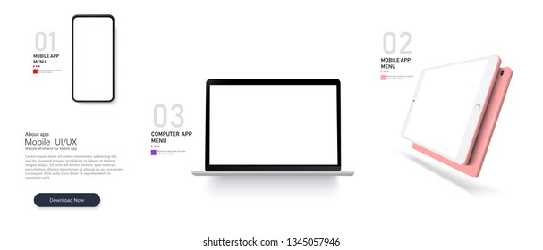 Set Mock-up of realistic devices. Vector minimalistic 3d isometric illustration set device. Smartphone, laptop, tablet, perspective view. Side and top view. Mockup generic device. Template for infogra