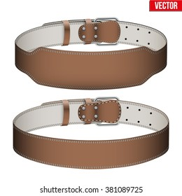 Set of Mockup Sport Weightlifting GYM Leather Belts with space for your brands. Wide and narrow models. Vector Illustration isolated on white background.